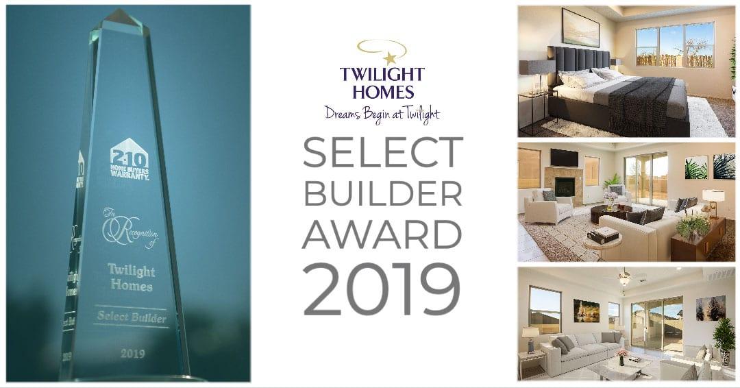Twilight Homes Receives 2019 Select Builder Award